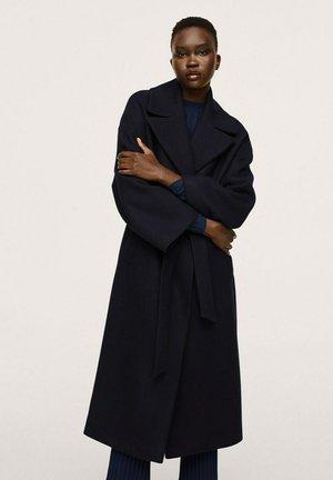 MANTEAU LAINE MAXI REVERS - Classic coat - bleu marine