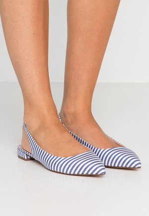 POINTY TOE  FLAT STRIPED - Slingback ballet pumps - blue/white