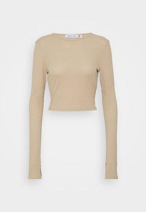 CUTOUT TIE BACK - Long sleeved top - beige