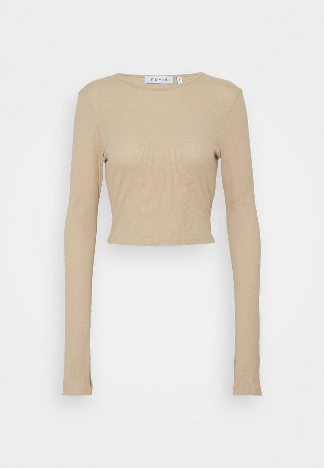 CUTOUT TIE BACK - T-shirt à manches longues - beige