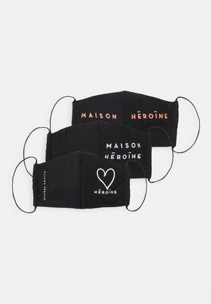 HEART 3 PACK - Látková maska - black