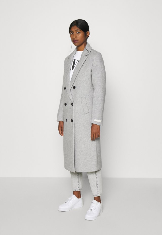 TAILORED DOUBLE BREASTED COAT - Kappa / rock - light grey melange