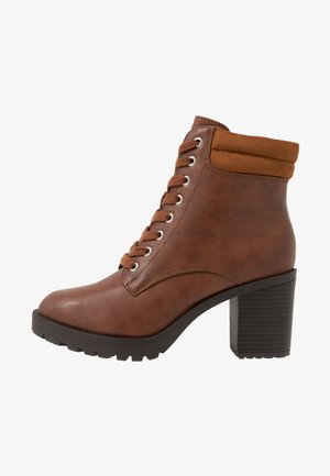 Platform ankle boots - cognac