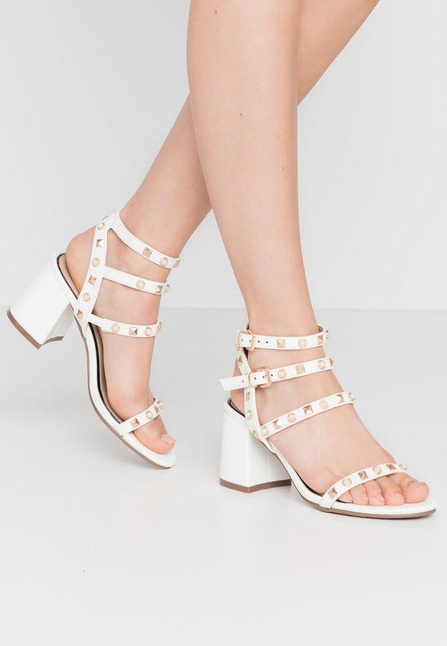 SHAN STUD MULTI STRAP BLOCK HEEL - Sandals - white