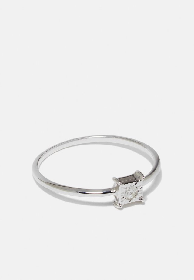 NATURAL DIAMOND RING CERTIFIED 0.04CARAT SOLITAIRE DIAMOND RINGS 9KT WHITE GOLD DIAMOND JEWELLERY GIFTS FOR WOMENS - Anello - white gold