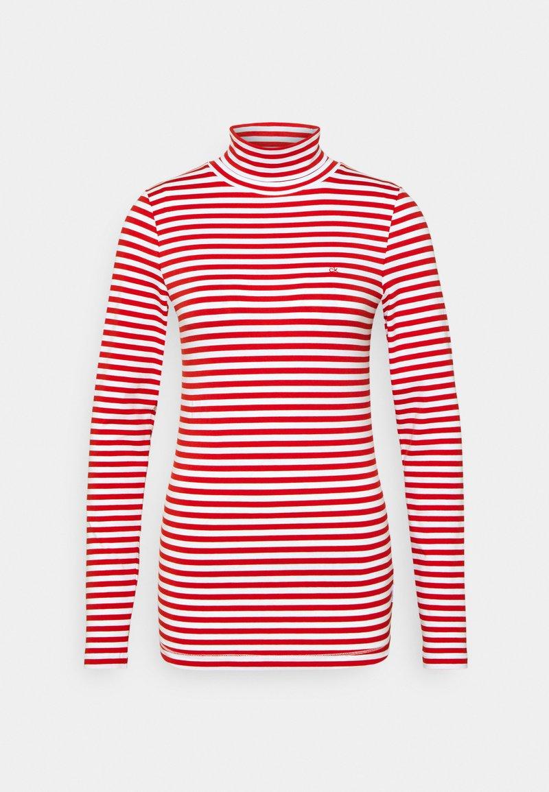 Calvin Klein - STRIPE TURTLE NECK - Long sleeved top - red