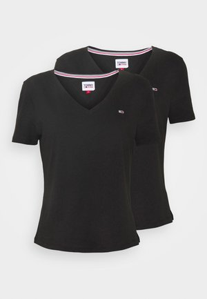 2PACK V NECK TEE - T-shirt z nadrukiem - black