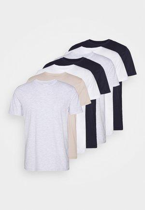 7 PACK - Basic T-shirt - pink/white/grey/nature/stone