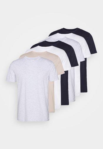 7 PACK - T-paita - pink/white/grey/nature/stone