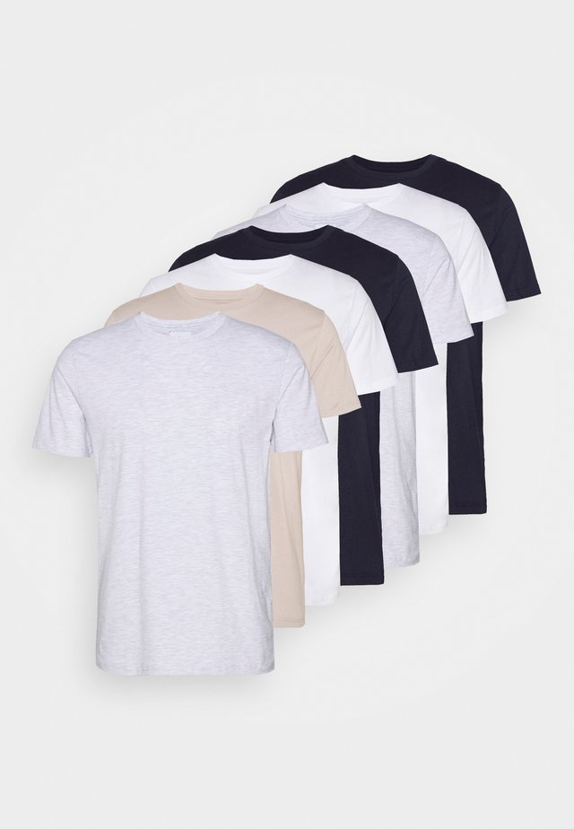 7 PACK - T-paita - pink/white/grey/nature/stone