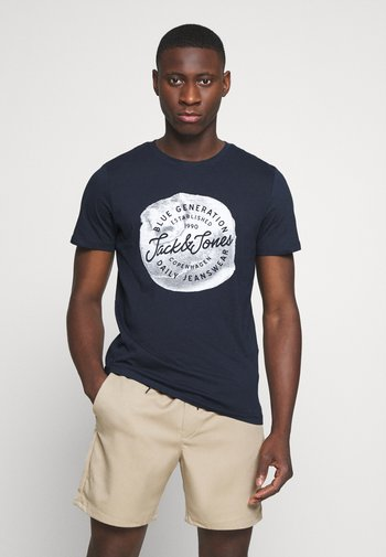 JORTANNER TEE CREW NECK - Print T-shirt - navy blazer