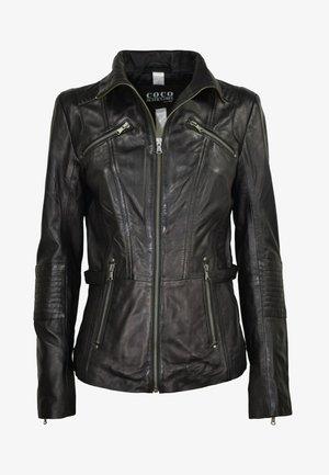 RIPLEY - Leather jacket - schwarz