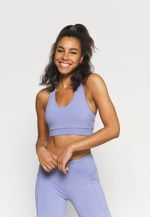 V NECK CUT OUT CROP - Light support sports bra - periwinkle