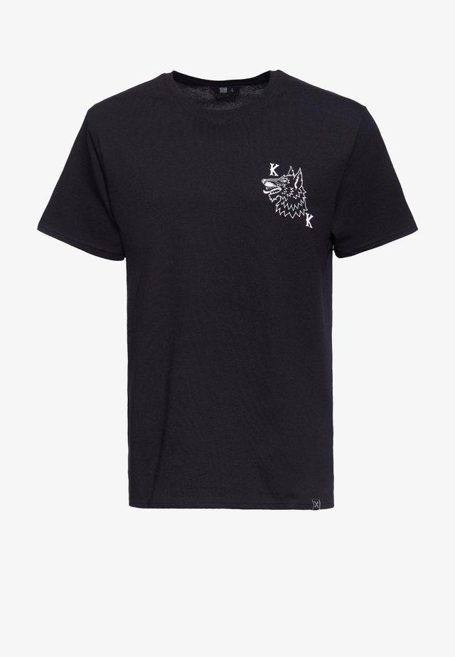 MIT AUF DER BRUST UND IM RÜCKEN LONE  - T-shirt print - schwarz