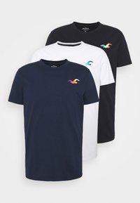 Hollister Co. - ICONIC 3 PACK - T-shirt basique - WHITE/NAVY/BLACK - 7