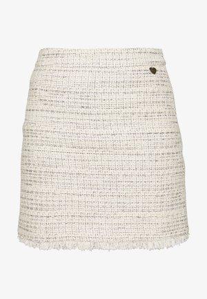 GONNA CORTA IN TESSUTO - Mini skirt - offwhite/silver