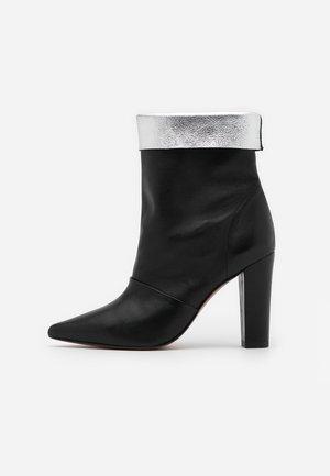 SAVINA - High heeled ankle boots - black/silver