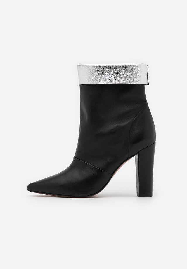 SAVINA - High heeled ankle boots - black/silver