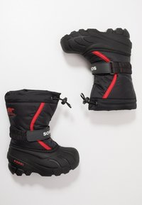 Sorel - YOUTH FLURRY - Winter boots - black/bright red - 0