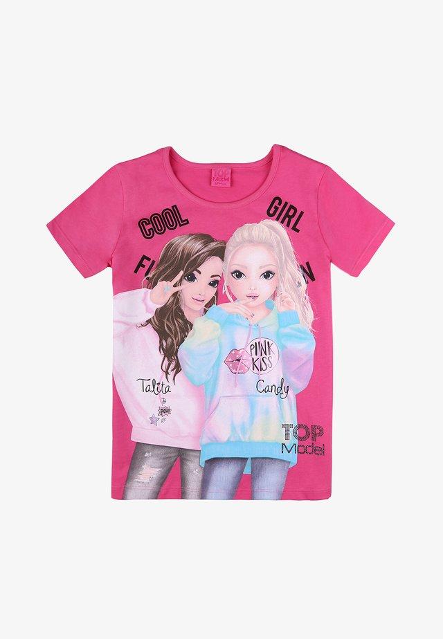 Print T-shirt - shocking pink