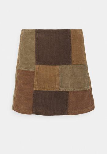 PATCHWORK PELMET SKIRT - Mini skirt - brown
