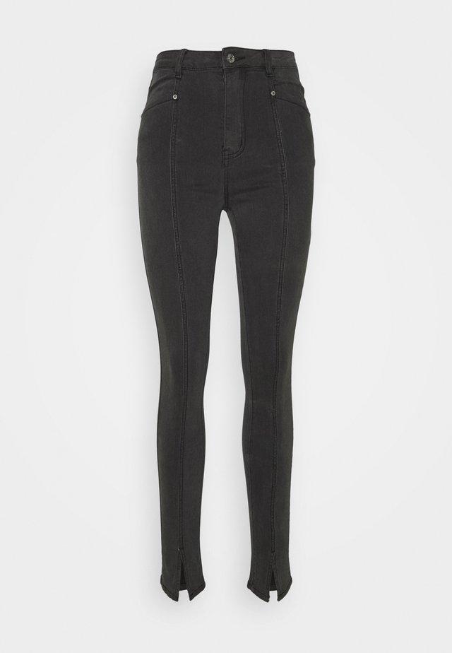 HIGHWAIST SPLIT JEANS - Jean slim - charcoal black