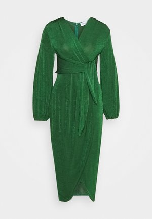 TWIST FRONT LONG SLEEVE DRESS - Korte jurk - dark green