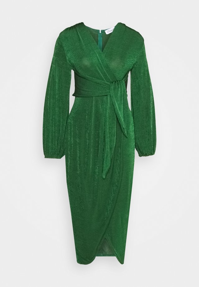 TWIST FRONT LONG SLEEVE DRESS - Robe d'été - dark green