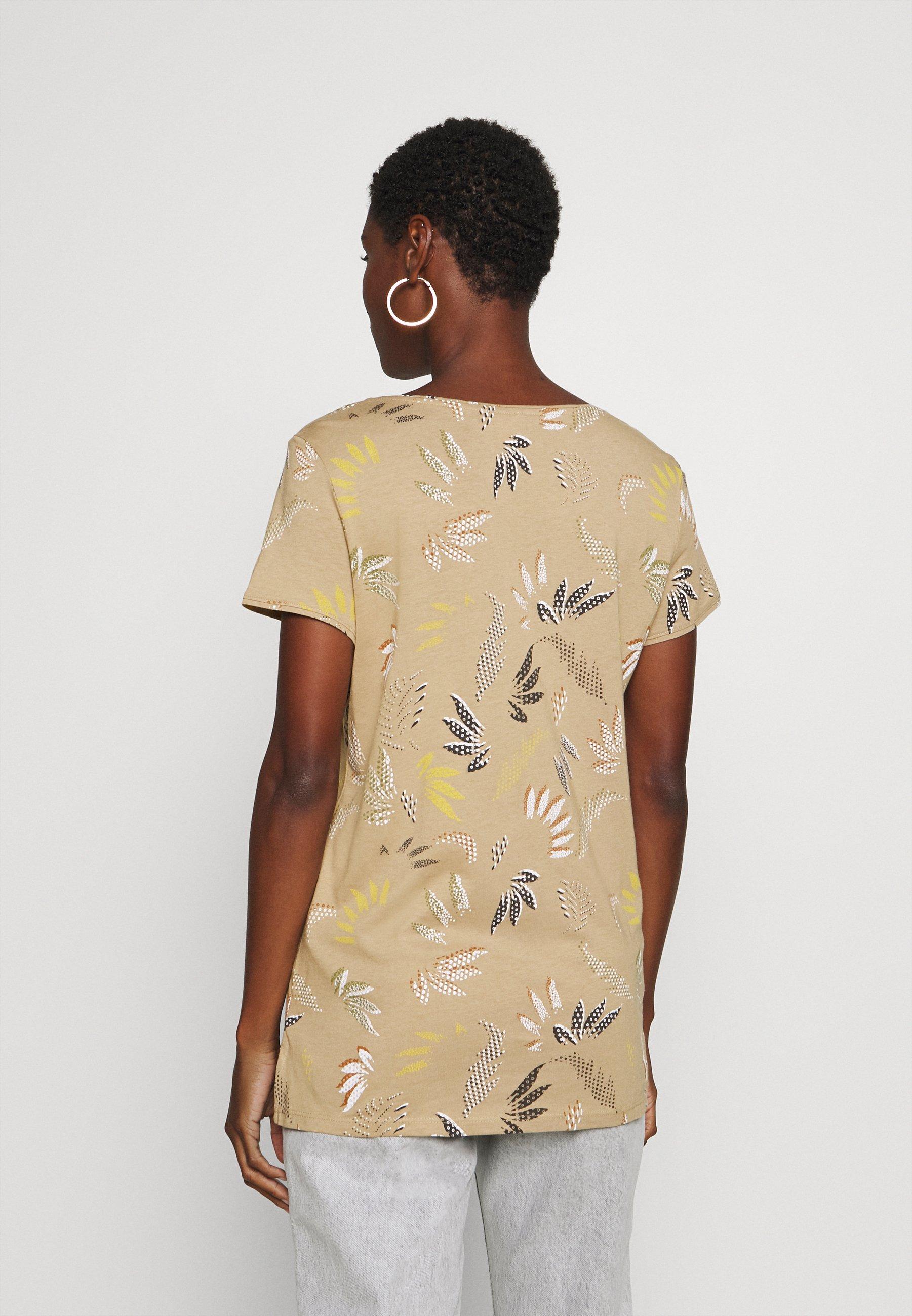 Esprit Leaf Tee - T-shirts Med Print Beige