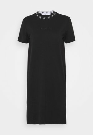 LOGO TRIM DRESS - Vestito di maglina - black