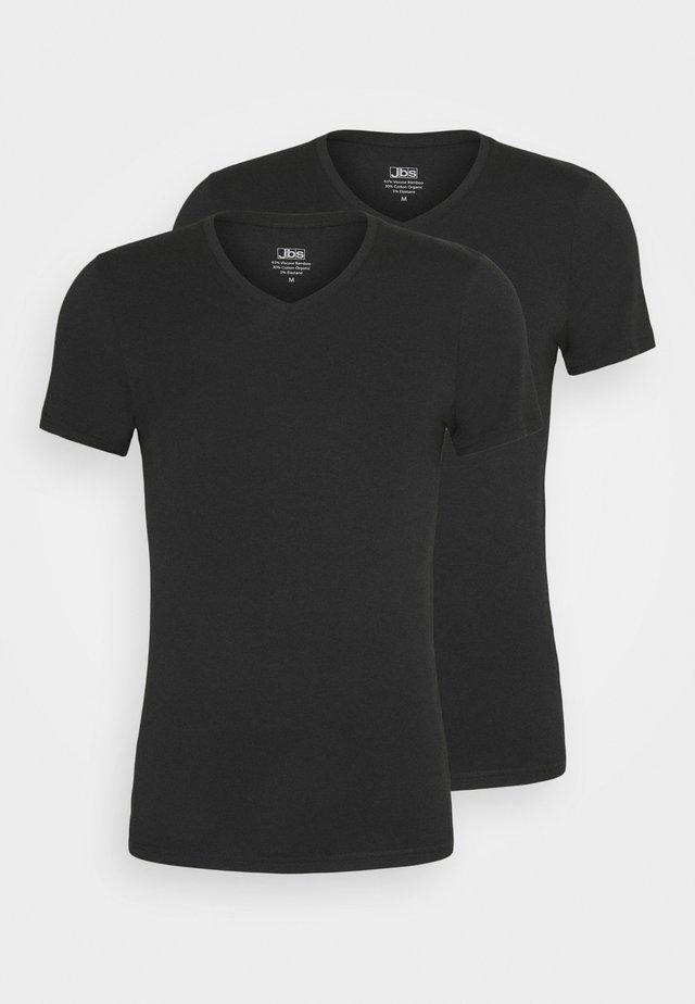 V NECK BAMBOO 2 PACK - Hemd - schwarz