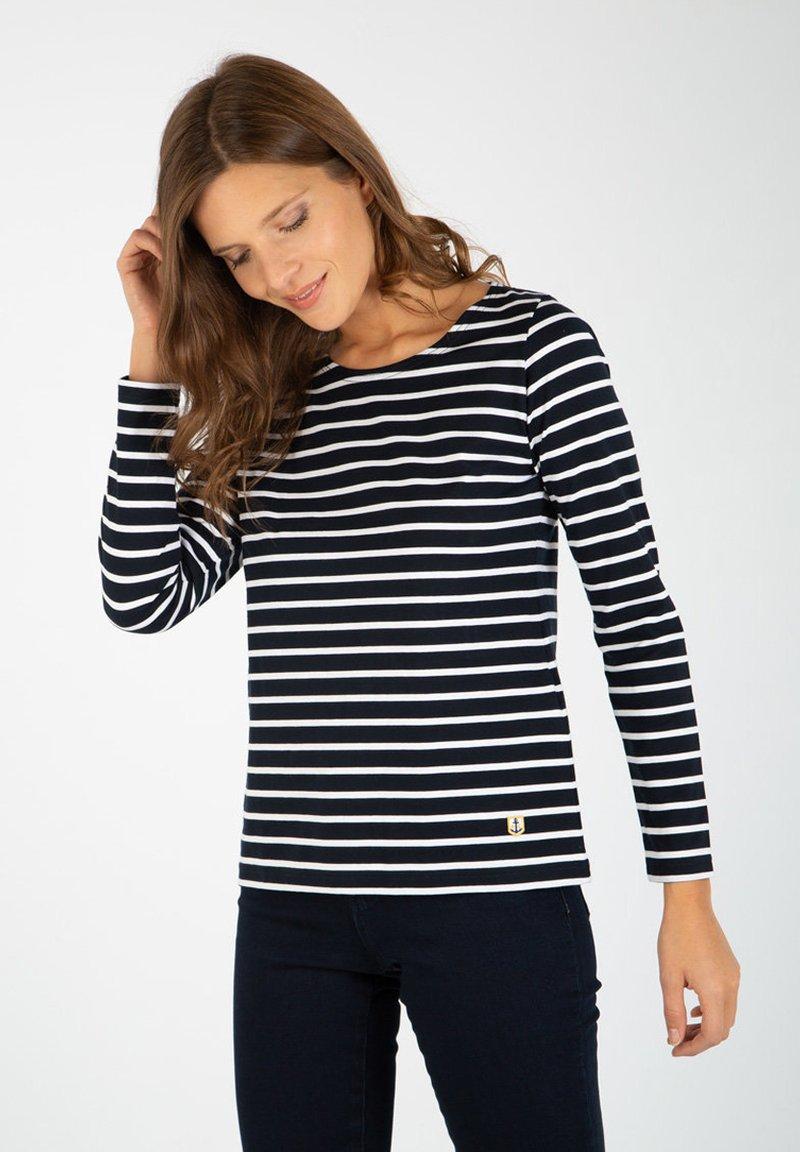 Armor lux - PLOZEVET MARINIÈRE - Long sleeved top - rich navy/blanc