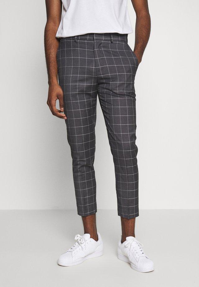 GRID CROP - Spodnie materiałowe - light grey