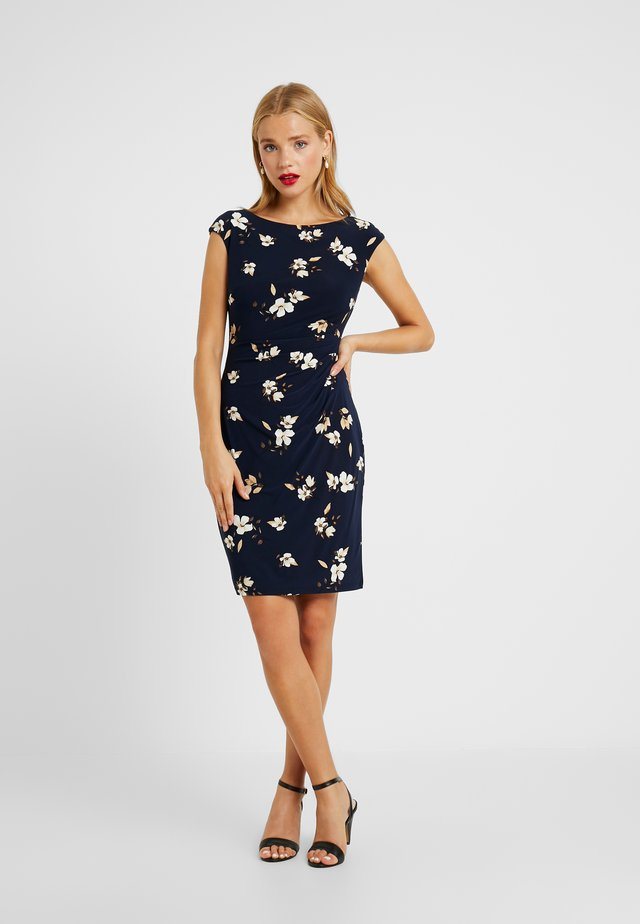 NOVELLINA CAP SLEEVE DAY DRESS - Shift dress - navy/taupe/multi