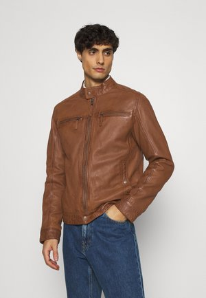 GILLES - Leather jacket - cognac
