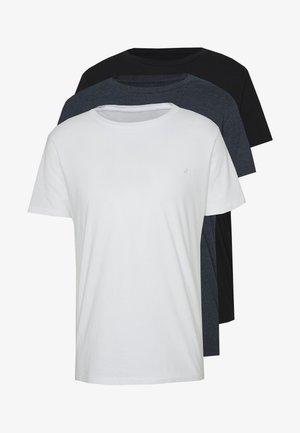 CREW TEE 3 PACK - Basic T-shirt - black/navy melange/white