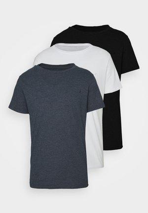 CREW TEE 3 PACK - T-shirt basic - black/navy melange/white