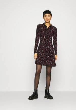HEART PRINT DRESS - Shirt dress - black