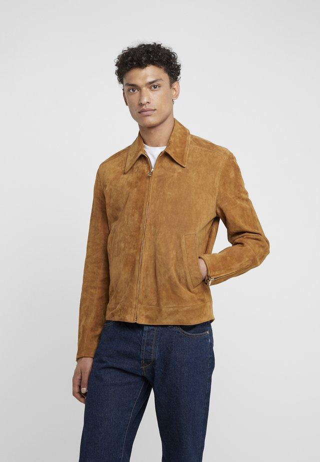 ZIP COLLAR JACKET - Leather jacket - camel