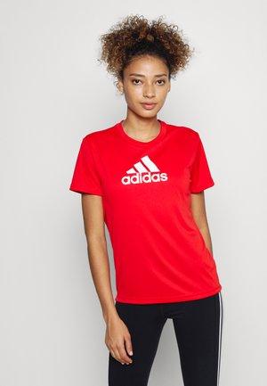 Print T-shirt - vivid red/white