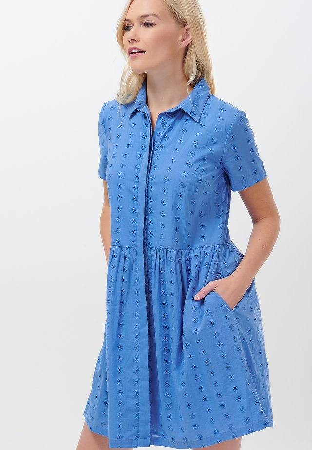 KEELEY BRODERIE - Shirt dress - blue
