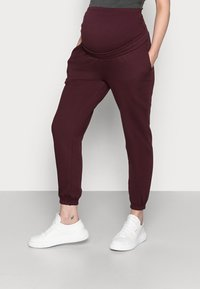 Anna Field MAMA - 2 PACK - LOOSE FIT JOGGERS - OVERBUMP - Tracksuit bottoms - black/bordeaux - 1