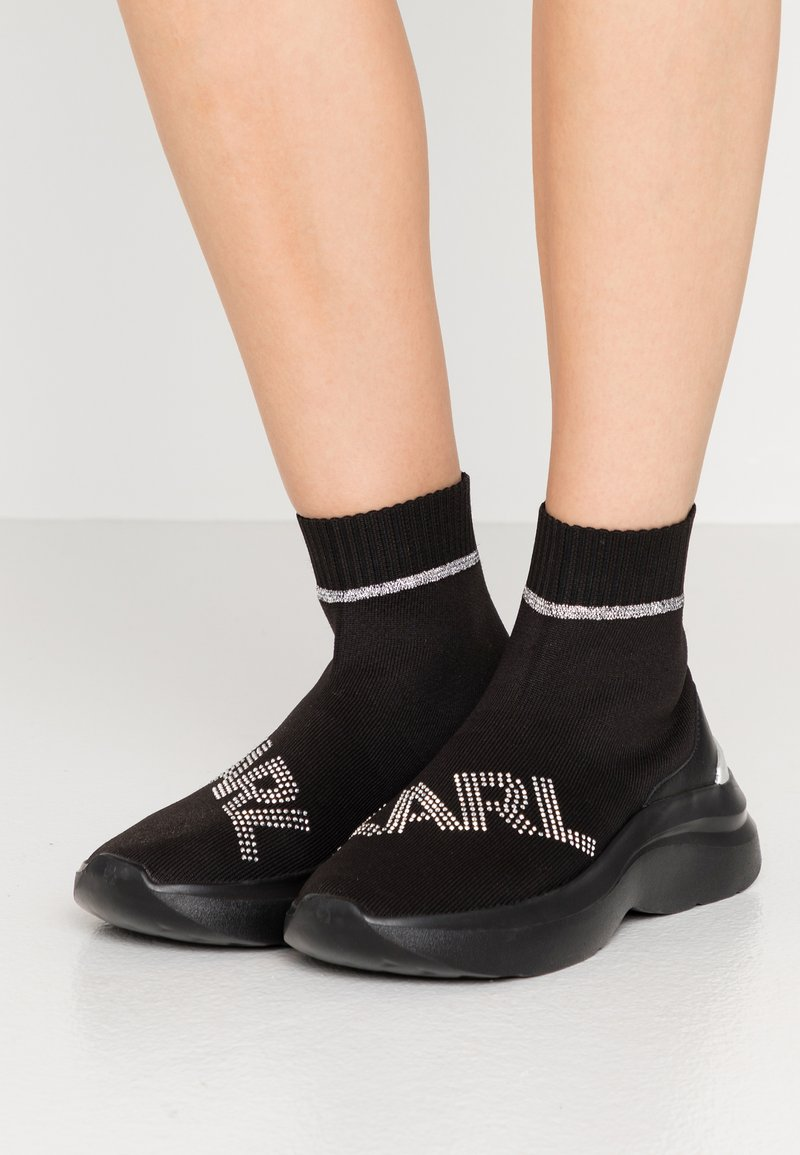 KARL LAGERFELD - SKYLINE RHINESTONE PULL ON - High-top trainers - black/silver
