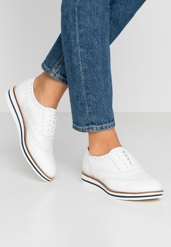 LEATHER LACE-UPS - Casual lace-ups - white