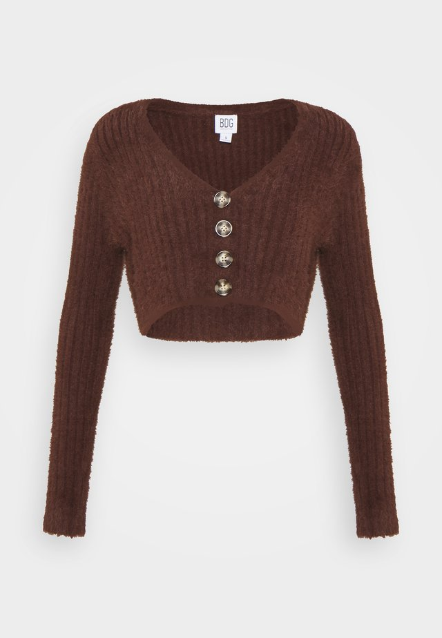 ROCHELLE FLUFFY CARDIGAN - Vest - chocolate