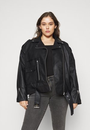 BOYFRIEND BIKER POCKET DETAIL - Faux leather jacket - black