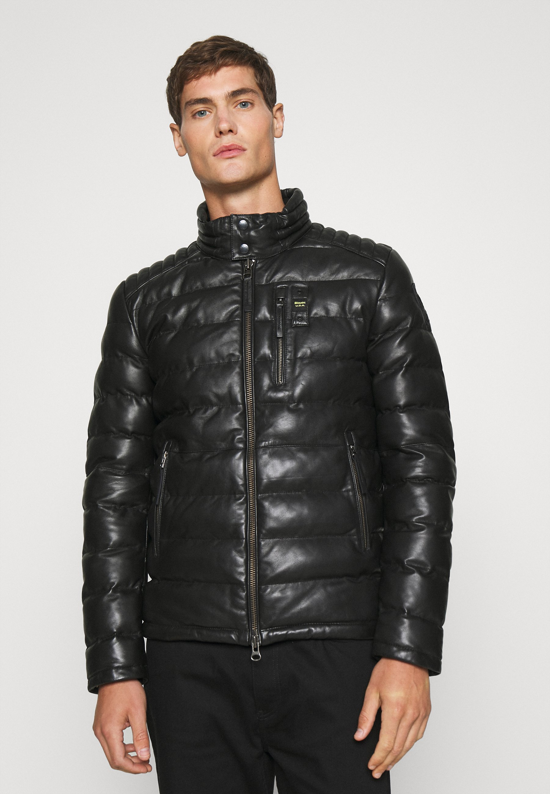 Men Leather jacket - schwarz