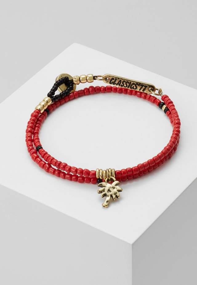 BEAD WRAP BRACELET WITH PALM TREE CHARM - Bracciale - red