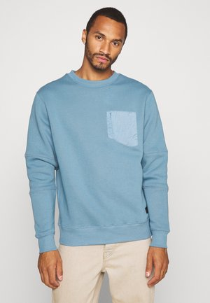 NYLON BLOCKED CREW NECK - Sweatshirt - slate blue/grey