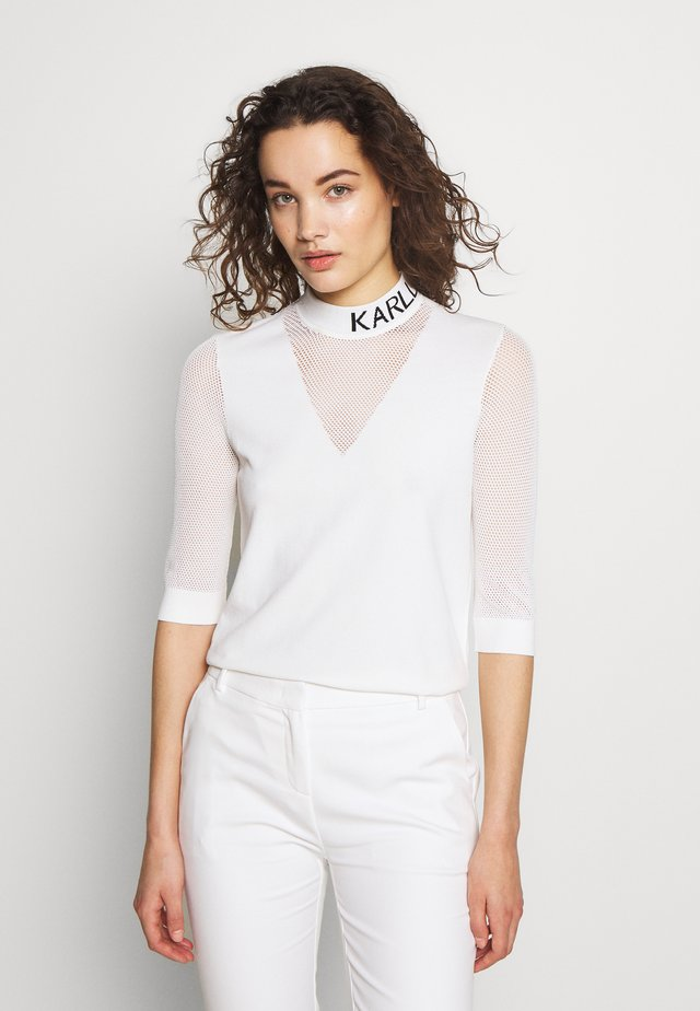 POINTELLE LOGO MOCKNECK - Long sleeved top - offwhite